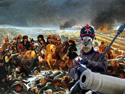 Painting -  Schnauzer Art  - Napoleon's Army by Sandra Sij