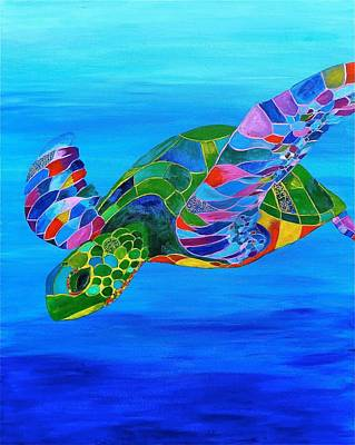 Painting -  Abstract Mehndi Sea Turtle  by Artistic Indian Nurse