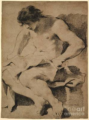 Study Of A Nude Painting -  Seated Young Man by MotionAge Designs