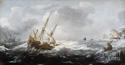 Ships In A Storm On A Rocky Coast Art Print by Celestial Images