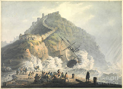 Painting -  Shipwreck Below Scarborough Castle by Celestial Images