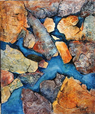 Painting -  Shoreline Rocks by Kathie Selinger