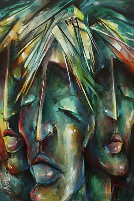 Multi Colored Painting -  ' Silently Waiting ' by Michael Lang
