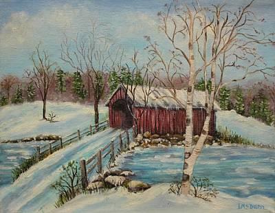 Winter Scene Painting -  Snow Covered Bridge by Irene McDunn
