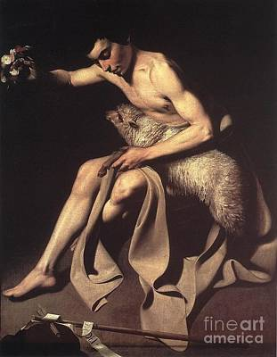 Caravaggio Painting -  St.  John The Baptist by Celestial Images