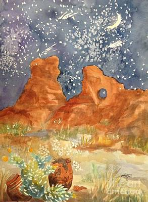 Painting -  Starry Night In The Desert by Ellen Levinson