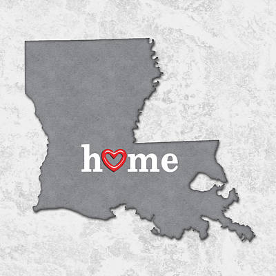 Cartography Painting -  State Map Outline Louisiana With Heart In Home by Elaine Plesser