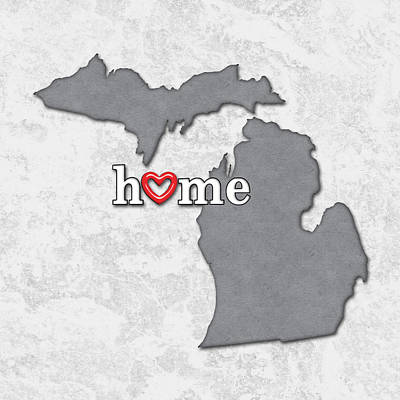 Michigan State Painting -  State Map Outline Michigan With Heart In Home by Elaine Plesser