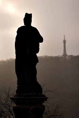 Photograph -  Statue And Petrin Tower by Lawrence Boothby