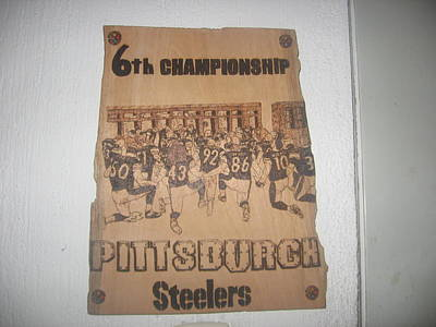 Sports Pyrography Pyrography -  Steelers Pray.. by Carlos Gayol