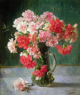 Red Rose Painting -  Still Life Of Carnations   by Emile Vernon