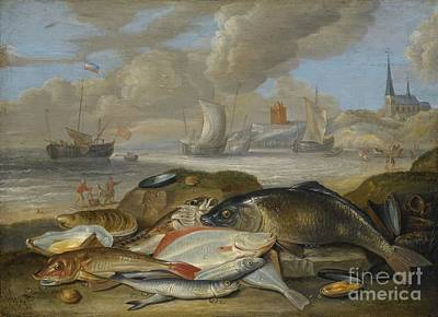 A Still Life Of A Fish Painting -  Still Life Of Fish In A Harbor by MotionAge Designs