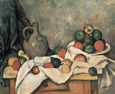 Painting -  Still Life With Drapery by Paul Cezanne