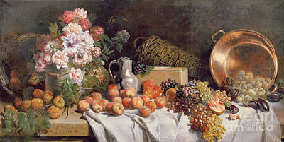 Still Life With Flowers And Fruit On A Table Art Print by Alfred Petit