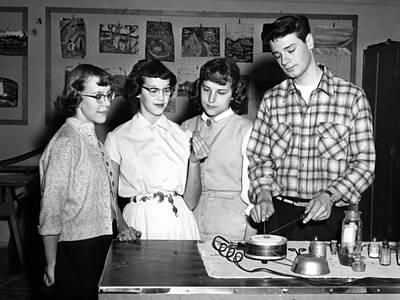 Artist Working Photograph -  Students Working Crafts Project Circa 1960 Black by Mark Goebel