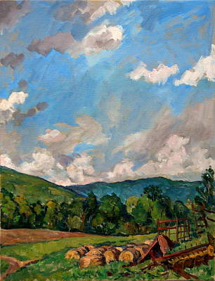 Abstract Realist Landscape Painting -  Summer Farm Berkshires by Thor Wickstrom