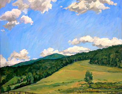 Abstract Realist Landscape Painting -  Summer Shapes Berkshires by Thor Wickstrom