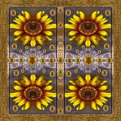 Lace Mixed Media -  Sunflower Fields On Lace Forever Pop Art by Pepita Selles