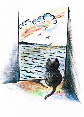 Swooping Drawing -  Cat's- Sweet View by Teresa White
