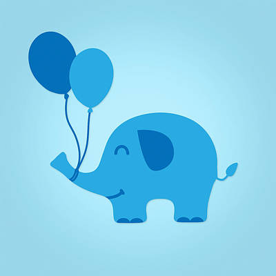 Sweet Funny Baby Elephant With Balloons Print by Philipp Rietz