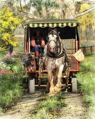Horse And Cart Digital Art -  Take Me Home Country Road by Trudi Simmonds