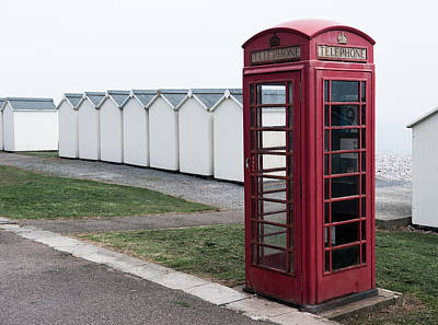 Photograph -  Telephone Box By The Sea II by Helen Northcott