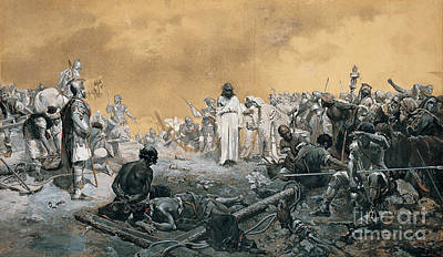 War Is Hell Painting -  The Arrival At Calvary by Celestial Images