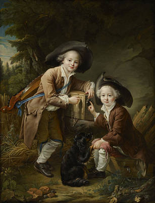 Comte Painting -  The Comte And Chevalier De Choiseul As Savoyards by Francois Hubert Drouais