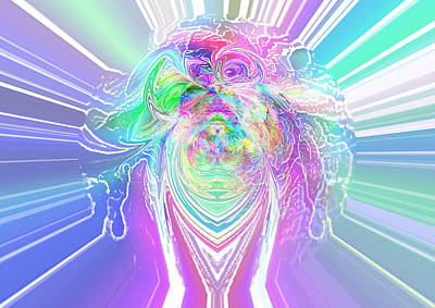 Exploding Head Digital Art - ... The Face Is Melting. Then The Skull Explodes... All Souls Burst Out As Soft Color Lights... by Joe Sampouw
