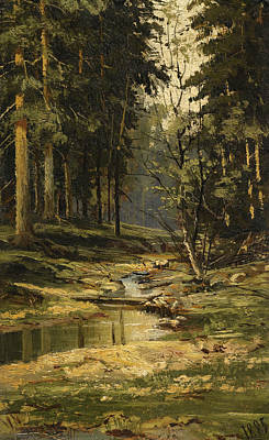 Russian Art Painting - The Forest Brook by Ivan Shishkin
