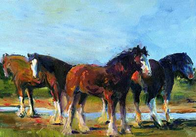 The Four Clydesdales  Art Print by Kathy Dueker