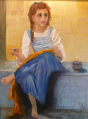 The Girl That Loves To Sew  Art Print by Tina Haeger