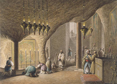 Holy Land Drawing -  The Grotto Of The Nativity In Bethlehem by Luigi Mayer