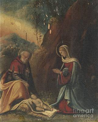 The Holy Family In A Landscape Art Print