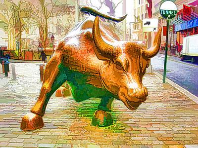 The Landmark Charging Bull In Lower Manhattan  Art Print