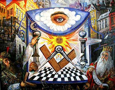 Painting - , The Masonic Apron, Morality History Allegory by Ari Roussimoff