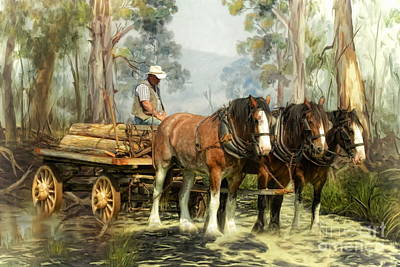 Horse And Cart Digital Art -  The Timber Team by Trudi Simmonds