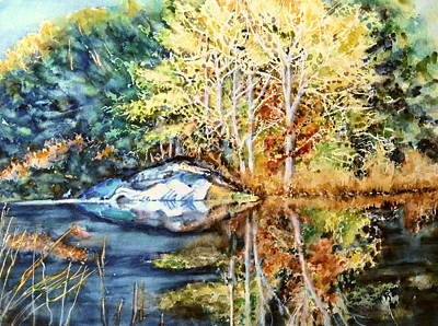 The Tree Across The Pond  Art Print by June Conte  Pryor