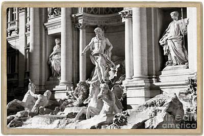 Fellini Photograph -  The Trevi Fountain Rome, Italy - Bw by Stefano Senise