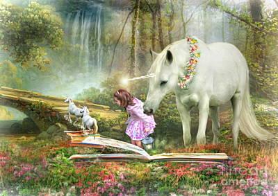 Fantasy Digital Art -  The Unicorn Book Of Magic by Trudi Simmonds