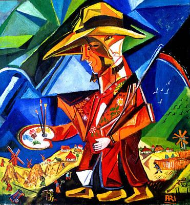 Painting -  Three Legged Peasant by Ari Roussimoff