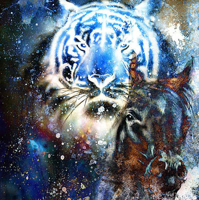 Tiger With Horse,  Collage On Color Abstract  Background,  Rust Structure, Wildlife Animals. Art Print by Jozef Klopacka