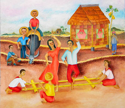 Applause Painting -  Tinikling by Miriam Besa