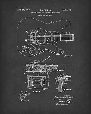 Drawing -  Tremolo Device 1956 Patent Art Black2 by Prior Art Design