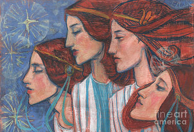Tribute To Art Nouveau, Pastel Painting, Fine Art, Redhaired Girls Art Print
