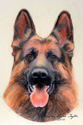 Tribute To The German Shepherd Print by Linda Diane Taylor