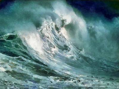 Seascape Oil Painting -  Tsunami - Raging Sea by Russ Harris
