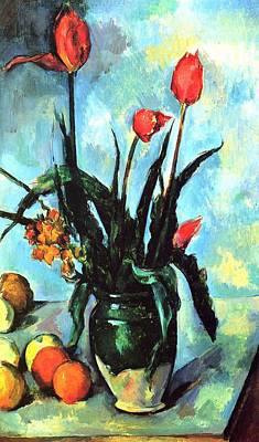 Painting -  Tulips In A Vase by Paul Cezanne