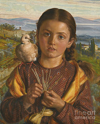 Tuscan Hills Painting -  Tuscan Girl Plaiting Straw by MotionAge Designs