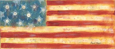 Mixed Media -  U.s. Flag Vintage by Carol Neal